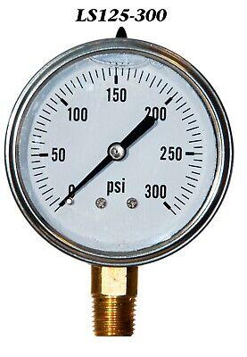 New Hydraulic Liquid Filled Pressure Gauge 0-300 Psi 2.5 Face 14 Lm