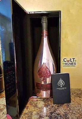 HUGE 3L Armand de Brignac Ace of Spades Brut Rose Champagne w/ Lacquer Box