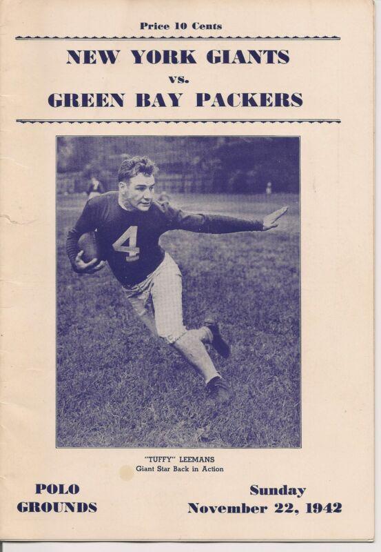1942 New York Giants-Packers Program Teams Tied Up NICE!!