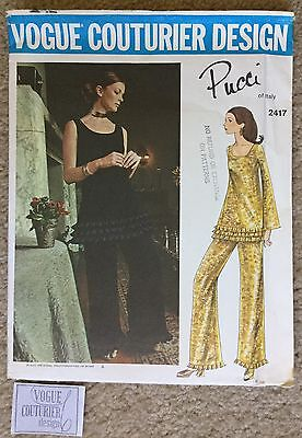 Vintage 1960's Uncut Vogue Couturier Design Pucci Italy Sewing Pattern #2417