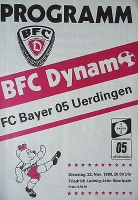 Programm 22.11.1988 BFC Dynamo - Bayer Uerdingen online kaufen