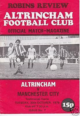 ALTRINCHAM V MANCHESTER CITY  TESTIMONIAL GAME   30/10/79