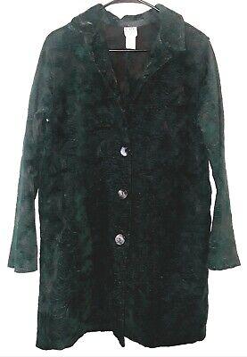 CMC Color Me Cotton -Sz L Rich Green Tapestry Elegant Long Woven Jacket Coat
