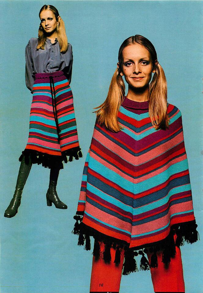 Vintage Machine knitting pattern-Twiggy models 1960s mod striped poncho & skirt
