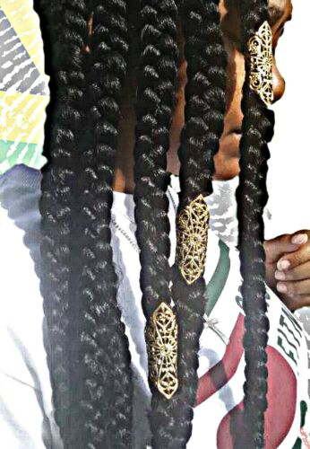 3 NATIVE Gold  Dreadloc Beads Loc Beads, Braids Hair Accessories 4cm