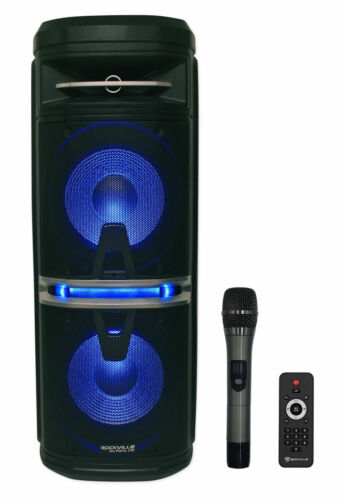 """Rockville Go Party X10 Dual 10"""" Battery Powered Bluetooth Speaker+UHF Microphone"""