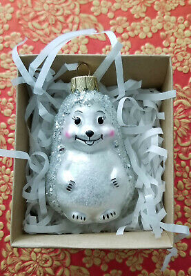 * WOW! SILVER SPARKLE HEDGEHOG CHRISTMAS TREE GLASS ORNAMENT * MADE IN POLAND * ()