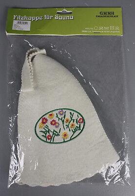 Filzkappe für die Sauna Saunahut Blumen Stickerei Schützt Haar & Kopf K17-FZ