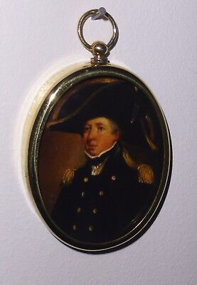 Portrait Miniature of Captain Hardy in full uniform in an oval brass frame