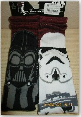 Star Wars men's athletic crew socks 2 Pair Darth Vader Storm Trooper Shoe 6-12