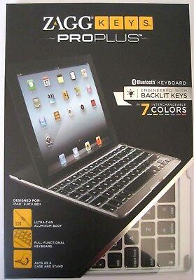 ZAGG Keys PROplus Bluetooth Keyboard for iPad 2/3/4 Aluminum w Backlight *NIB for sale  Shipping to India