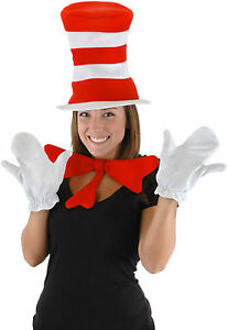 Dr Seuss Cat in the Hat Gloves Bow Tie Adult Halloween Costume Accessory Kit Set