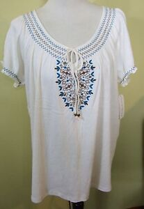NWT French Laundry crinkle gauze Ivory peasant embroider top shirt blouse 1X
