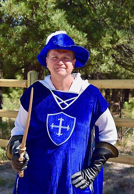 Dreamgirl Mighty Musketeer Men Costume Sz XXL Blue Medieval Renaissance