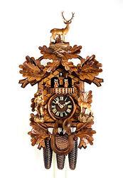 cuckoo clock painted black forest 8 day original german hunter wood music new