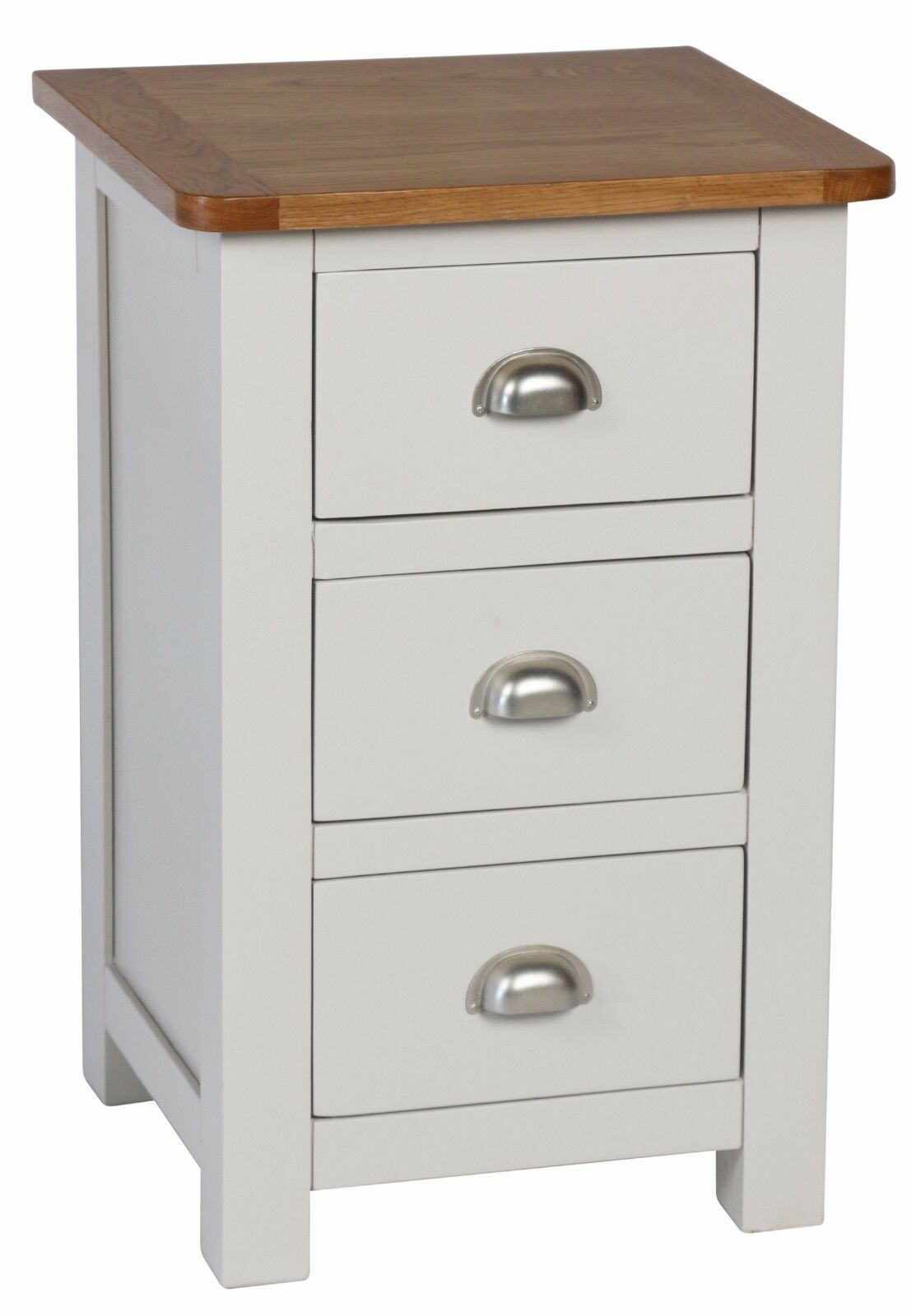 Alston 3 drawer bedside cabinet assembled solid acacia wood grey and oak tops