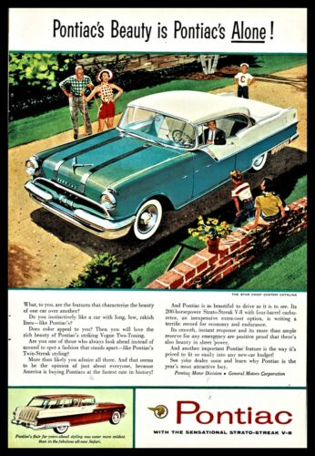 1955 PONTIAC Star Chief Custom Catalina 2-door Hardtop  Blue and White Car AD
