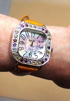 BADAVICI MULTI-GEMSTONE WATCH WITH MOTHER OF PEARL FACE & TAN LEATHER STRAP Multi Gemstone Watch