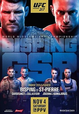 UFC 217 Fight Poster (24x36) - Michael Bisping vs George St-Pierre, Dillashaw for sale  Cincinnati