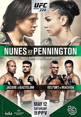 UFC 224 Fight Poster (24x36) - Nunes vs Pennington, Belfort vs Machida for sale  Cincinnati