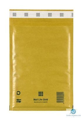 25 K7 K/7 Gold Brown 350 x 470 mm Padded Bubble Wrap Mail Lite Postal Bag New