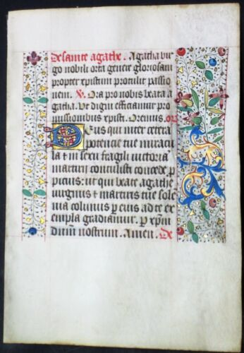 Illuminated medieval BoH leaf,colorful gold initials&border,ca.1475 #N2