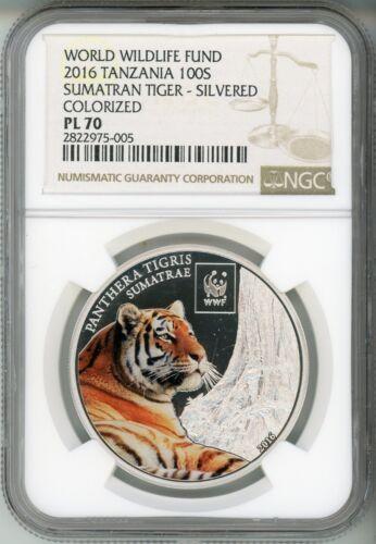 2016 100S  WWF TANZANIA - SUMATRAN TIGER - COLORIZED - PLATED -  NGC PL 70