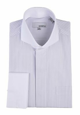 Mens Silver Striped With White Contrast Cutaway Collar & French Cuff Dress Shirt ()