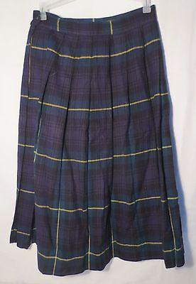 Vintage Virgin Wool Tartan Navy Blue Shamrock Green pleated skirt waist 28