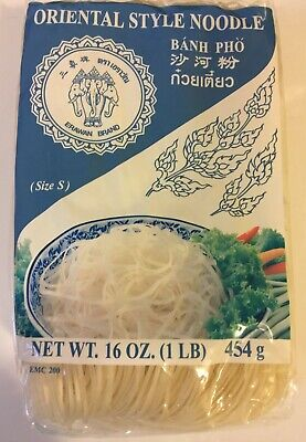 Banh Pho Oriental Style Noodles Rice Stick (16 oz) - Size Small Noodle (2 Bags) Oriental Style Noodle