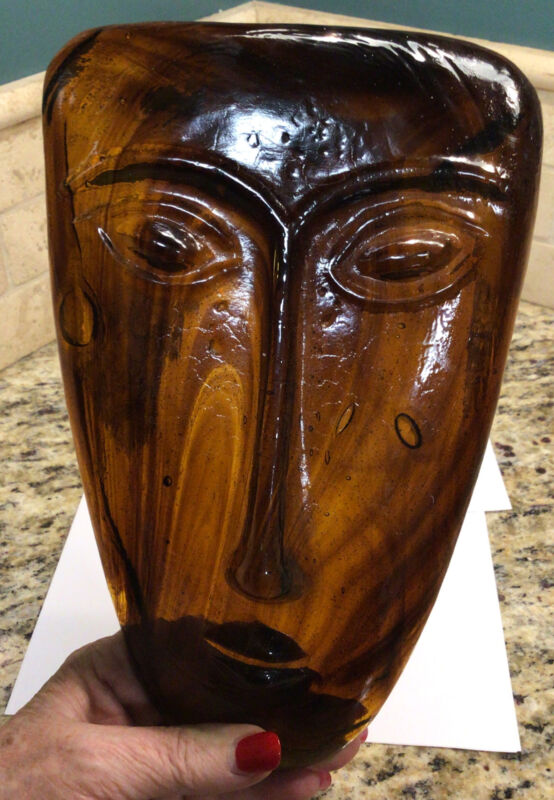 VINTAGE MID CENTURY GABRIEL RODOLFO LIO JARA MILLO ART GLASS MASK-FACE-BROWN