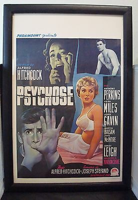 "Rare 1960 Belgium Window Card Movie Poster ""PSYCHO"" Alfred Hitchcock Horror Film"