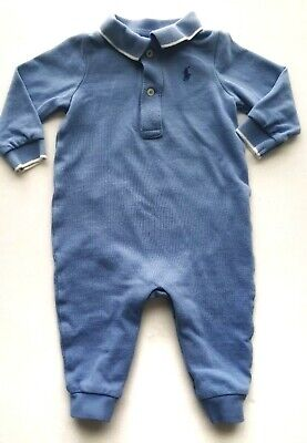 Polo Ralph Lauren Baby Boy Long Sleeve Jumper 6 Months Blue One Piece Outfit