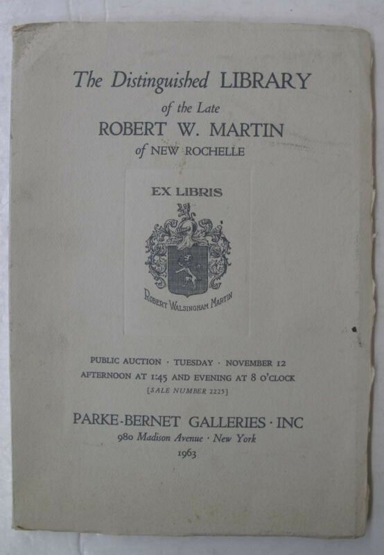 Parke Bernet Auction Catalogue Incunabula Incunables Illus. Robert W Martin 1963