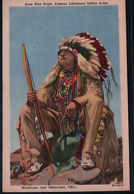 Acee Blue Eagle Famous OK Indian Artist Vintage Native American Postcard