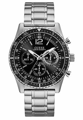 Guess Men's Silver Stainless Steel & Black Dial Quartz Watch W1106G1