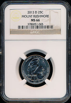2013-D MOUNT RUSHMORE QUARTER NGC MS66