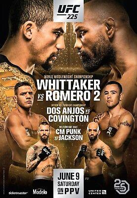 UFC 225 Fight Poster (24x36) - CM Punk vs Jackson, Whittaker vs Romero 2, used for sale  Cincinnati