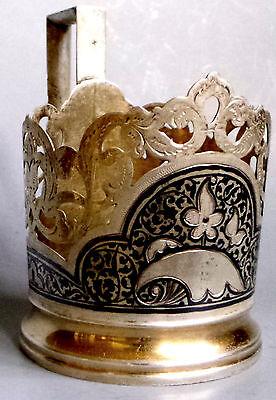 pre -1958 glass holder Antique Soviet Silver Stalin cold era hallmarked 875