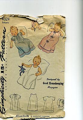 Vintage SEWING PATTERN 1940's Simplicity INFANT LAYETTE Dress WRAPPER Slip ETC.