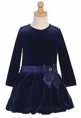 New Toddler Kids Girls Stretch Navy Blue Velvet Dress Christmas Holidays 995 ()