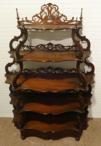 Gorgeous Antique Victorian Walnut What-Not Shelf with Unusual Hidden Drawer