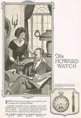 1920s Old Vintage 1923 Howard Pocket Watch Man Woman Fashion Art Print Ad