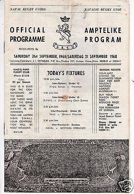 NATAL V WESTERN PROVINCE   INTER PROVINCIAL SENIOR   21/9/68