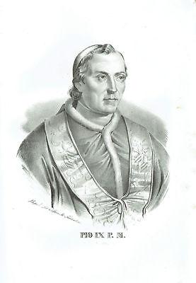 Father Pio Ix , Giovanni Maria Mastai Bra - Incision Original 1800 Pius Pope