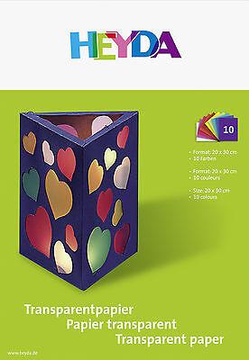 50 Blatt Transparentpapier von HEYDA Format 20x30cm  10 sortierte Farben