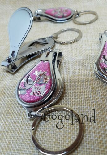 24 BABY SHOWER NAIL CLIPPER KEY CHAINS PINK GIRL PARTY FAVOR