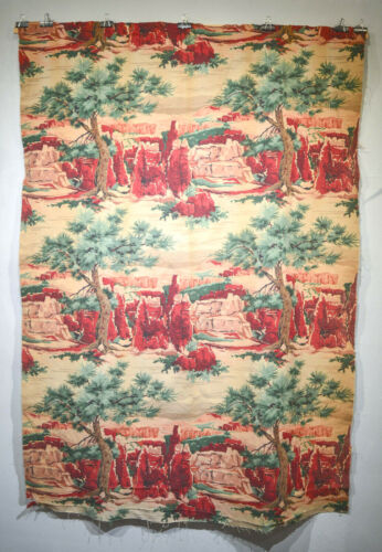 MID CENTURY SOUTHWESTERN REDROCK CANYONS SCENE BARKCLOTH FABRIC- TWO LENGTHS