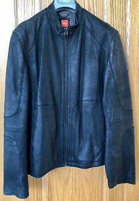 Men's Hugo BOSS Black Distressed Leather Jacket (XL - to fit chest 42-44 inches)