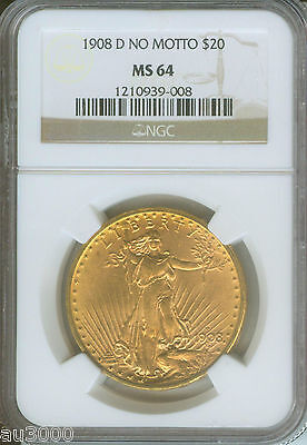 1908 D NO MOTTO $20 ST. GAUDENS DOUBLE EAGLE NGC MS64 SAINT MS 64 NEAR GEM